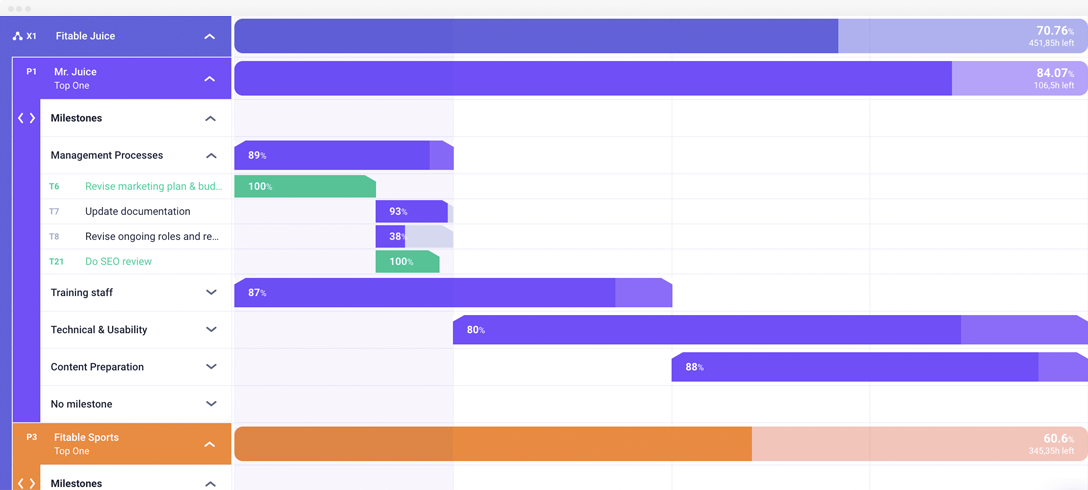 Connected projects timeline