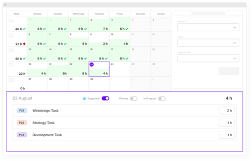 Forecast Timesheet with celendar and AI suggested tasks