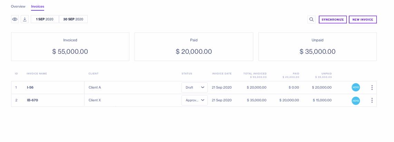 Xero Invoicing view