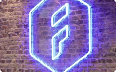 Forecast logo in blue neon light